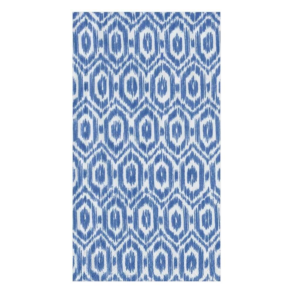 Caspari - Amala Ikat Paper Guest Towel Napkins in Blue - 15 Per Package