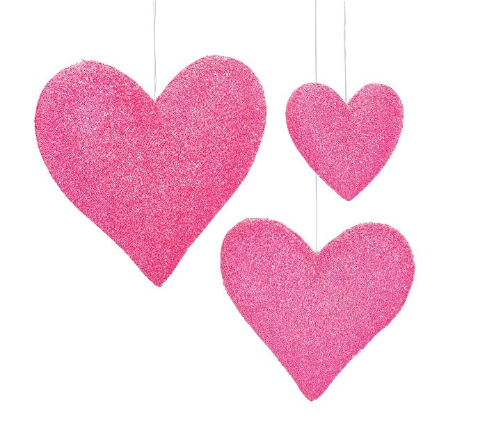 Burton + Burton - Hanging Pink Hearts - Multiple Sizes