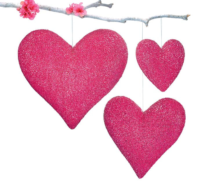 Burton + Burton - Hanging Berry Color Hearts - Multiple Sizes