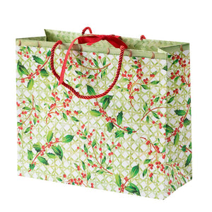 Caspari - Holly Trellis Large Gift Bag - 1 Each