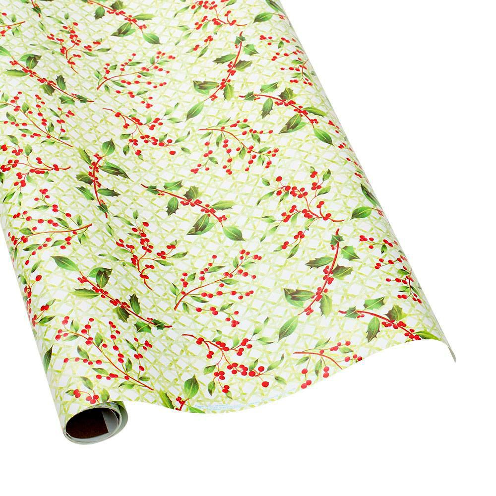 "Caspari - Holly Trellis Gift Wrapping Paper - 30"" x 8' Roll"