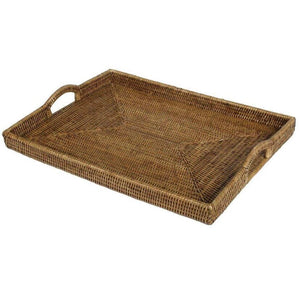 Caspari - Rattan Rectangular Tray in Dark Natural