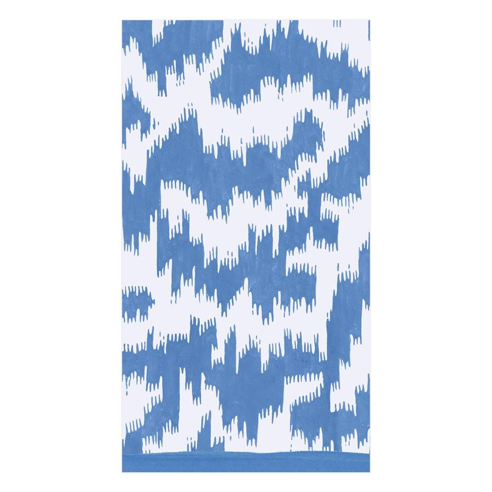 Caspari - Modern Moiré Paper Guest Towel Napkins in Blue - 15 Per Package
