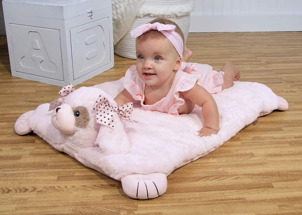 Bearington Baby - Stuffed Animal Pink Puppy Dog Baby Mat, Belly Blanket, Tummy Time Mat