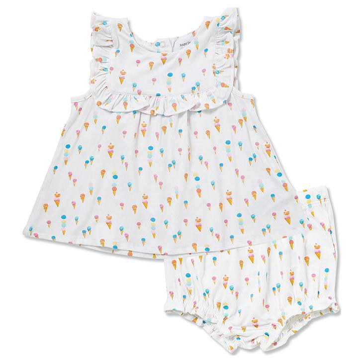 Angel Dear - Top and Bloomer with Ruffle Detail in Ice Cream