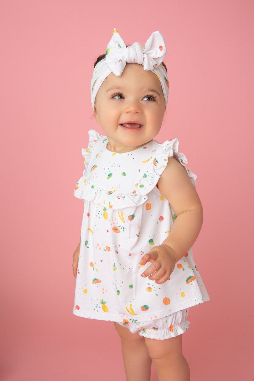 Angel Dear - Top and Bloomer with Ruffle Detail in Ditsy Fruit