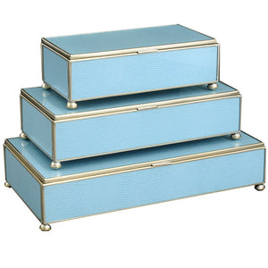 Jim Piers - Blue Lizard Skin Rectangular Stacking Boxes - Multiple Sizes