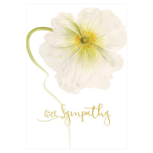 Caspari- White Poppy Sympathy Card - 1 Card & 1 Envelope
