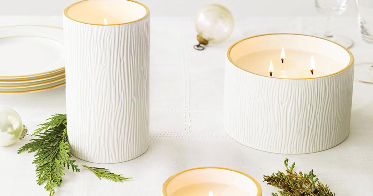 Thymes- Frasier Fir Gilded Ceramic Poured Candle 3 Wick