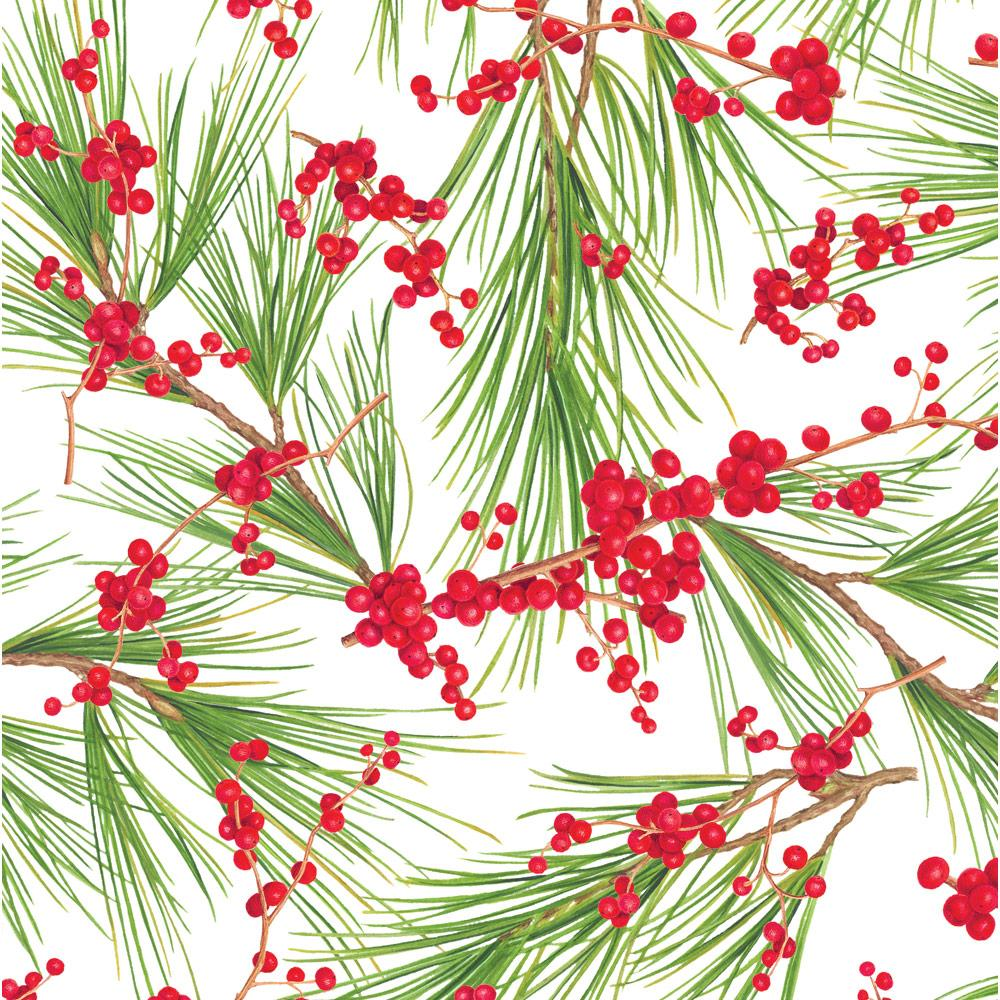"Caspari - Berries and Pine Gift Wrapping Paper in White - 30"" x 8' Roll"