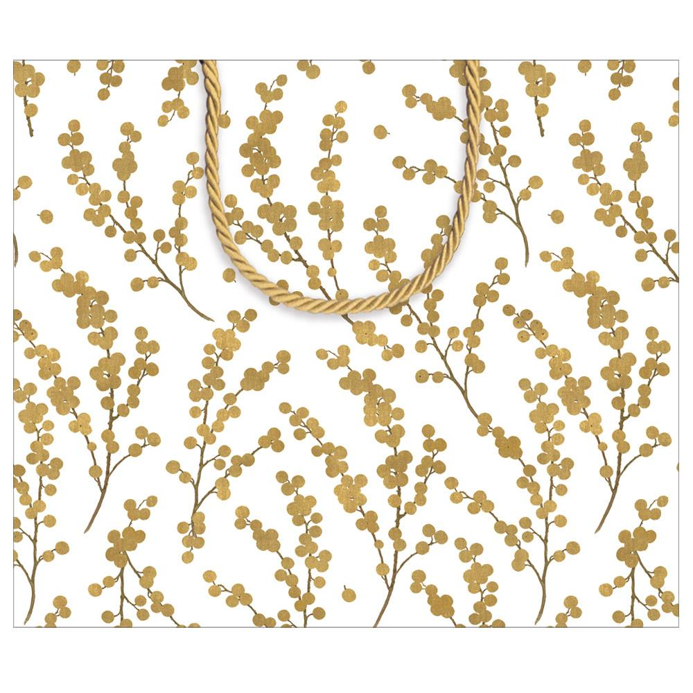Caspari - Berry Branches Large Gift Bag in Ivory & Gold - 1 Each