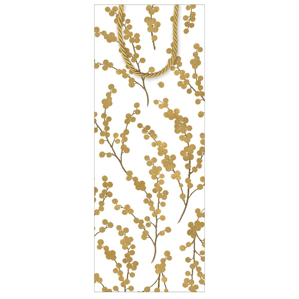 Caspari - Berry Branches Wine & Bottle Gift Bag in Ivory & Gold - 1 Each