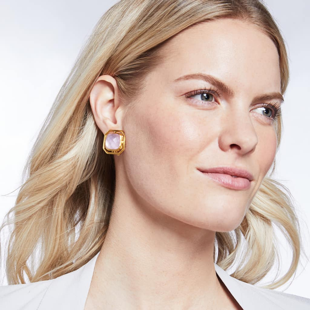 Julie Vos - Geneva Clip Earrings - Iridescent Rose