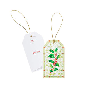 Caspari - Holly Trellis Classic Gift Tags - 4 Per Package