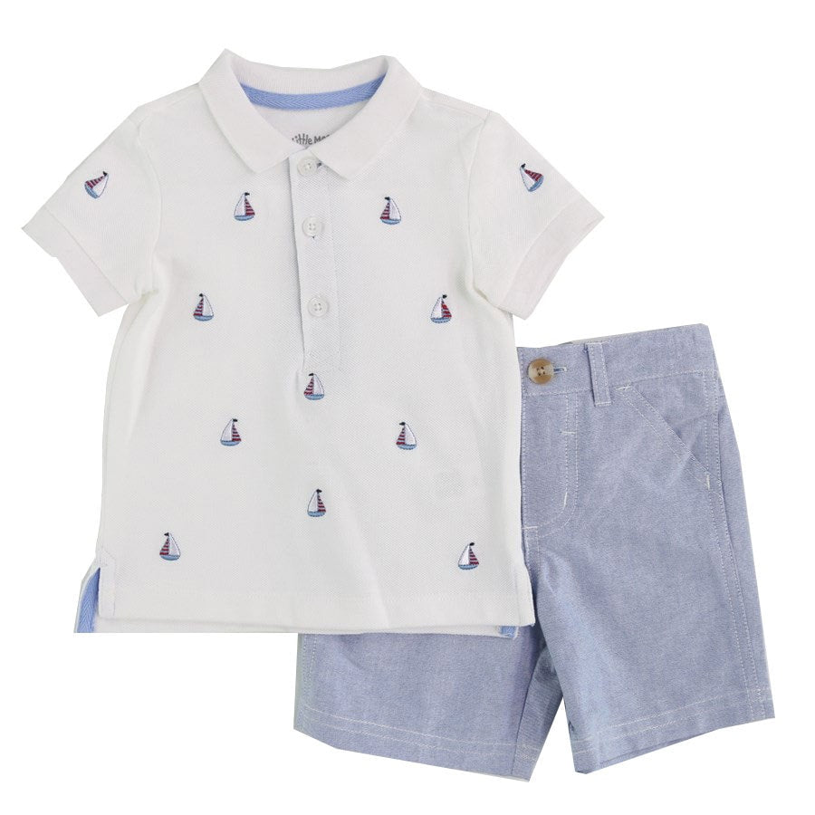 Little Me - Sailboat Polo and Short Set - Blue