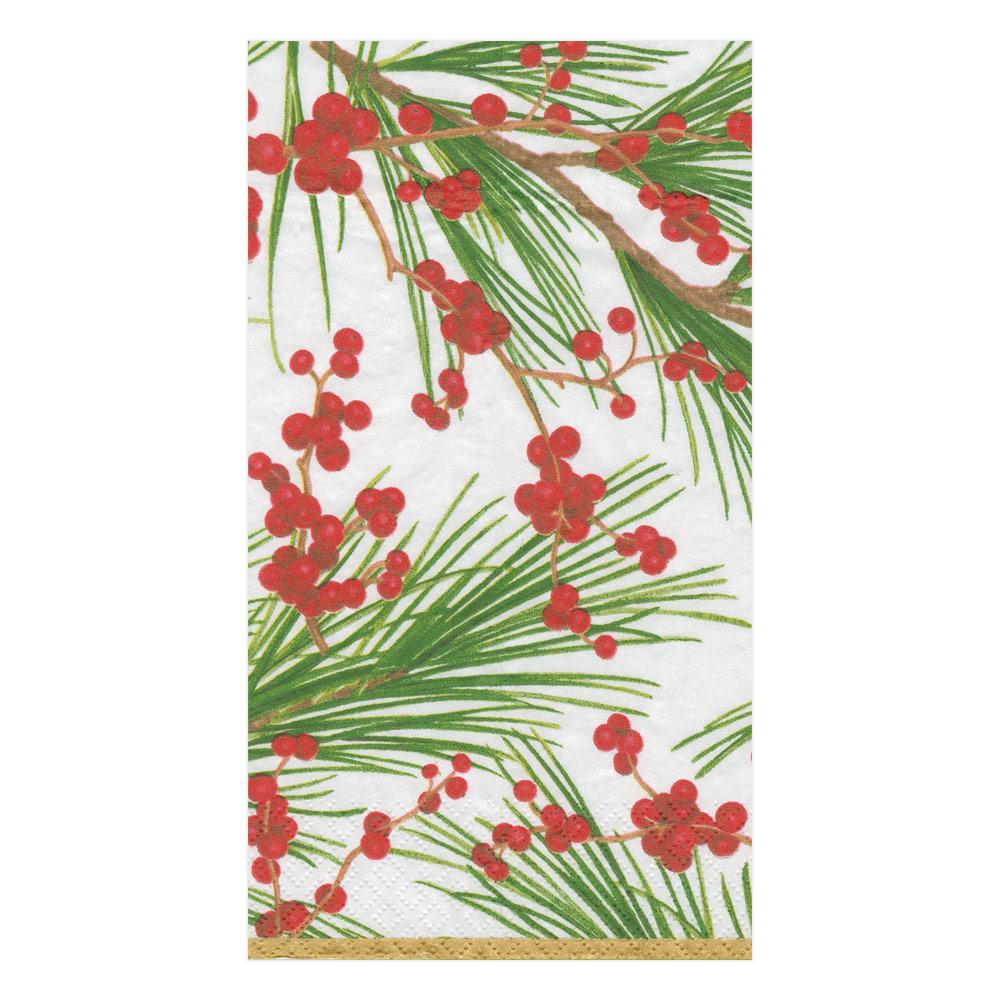 Caspari - Berries and Pine Paper Guest Towel Napkins - 15 Per Package