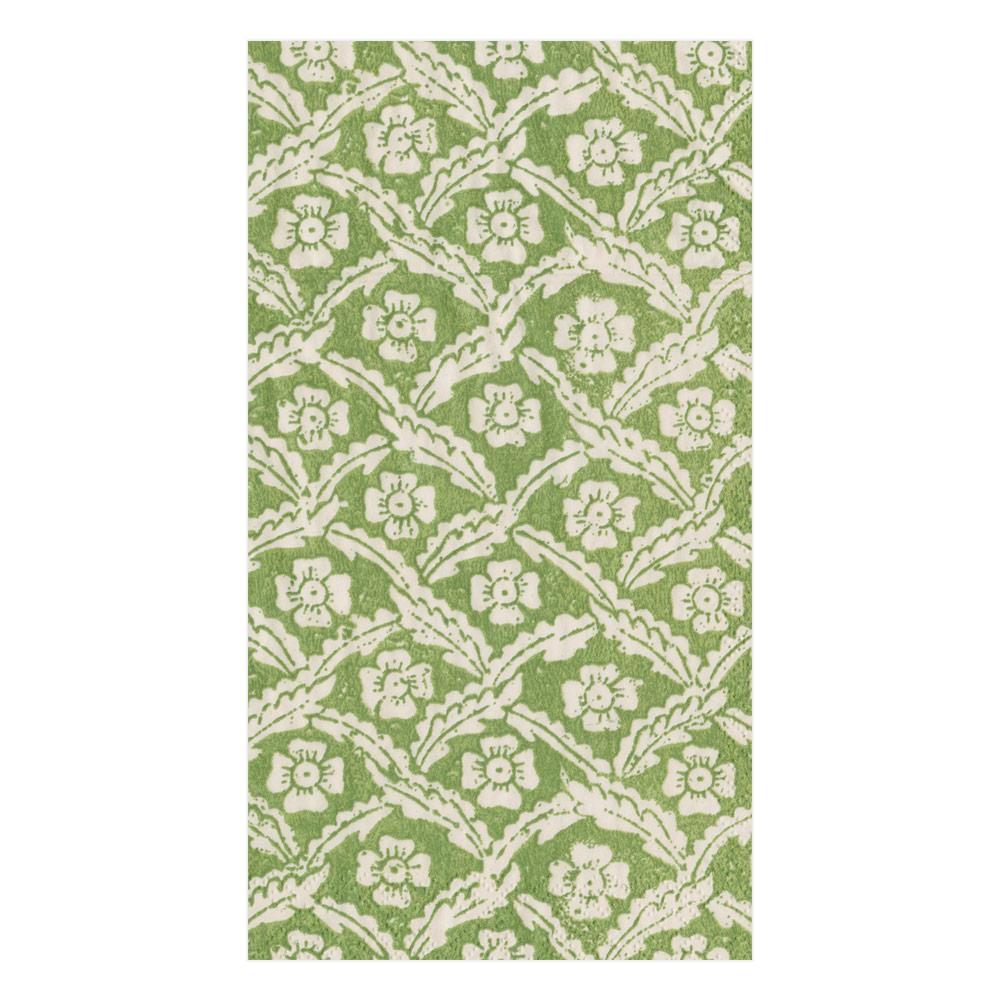 Caspari - Domino Paper Floral Cross Brace Paper Guest Towel Napkins in Green - 15 Per Package