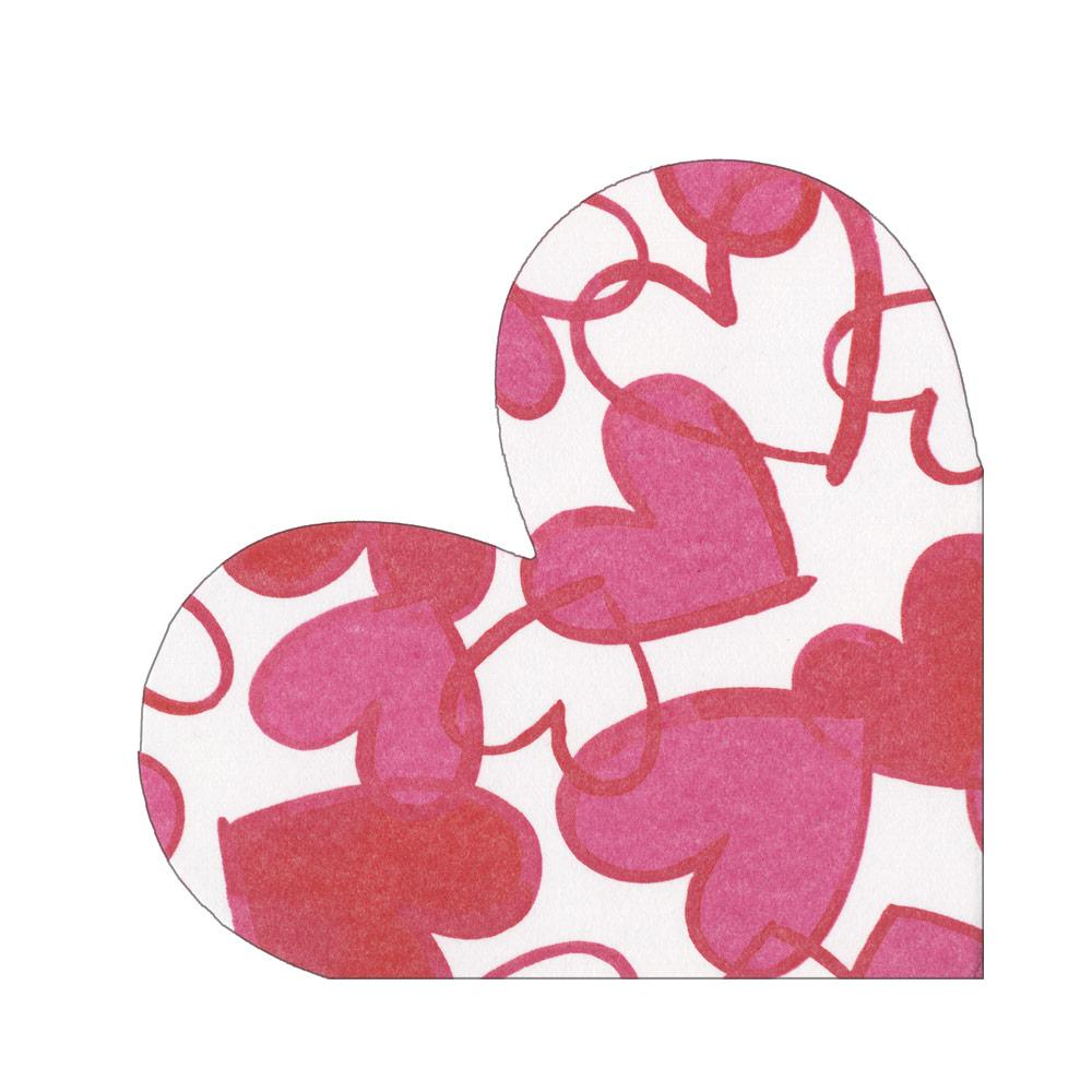 Caspari - Painted Hearts Die-Cut Paper Linen Party Napkins - 15 Per Package