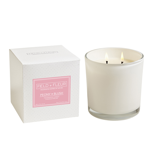 Hillhouse Naturals - Candle in White Glass - Peony Blush - 2 Wick