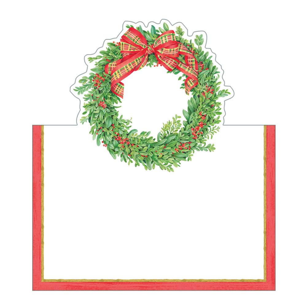 Capari - Boxwood and Berries Wreath Die-Cut Place Cards - 8 Per Package