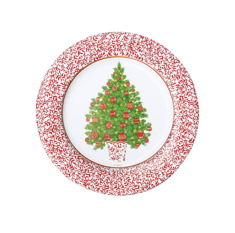 Caspari - Decorated Tree Paper Salad & Dessert Plates - 8 Per Package