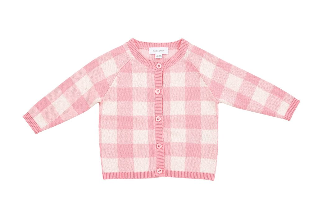 Angel Dear - Gingham Knit Cardigan - Pink