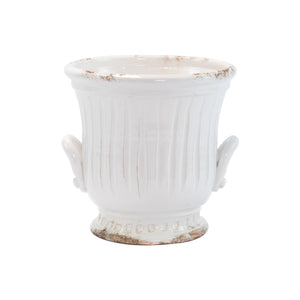 Vietri - Rustic Garden White Medium Handled Cachepot
