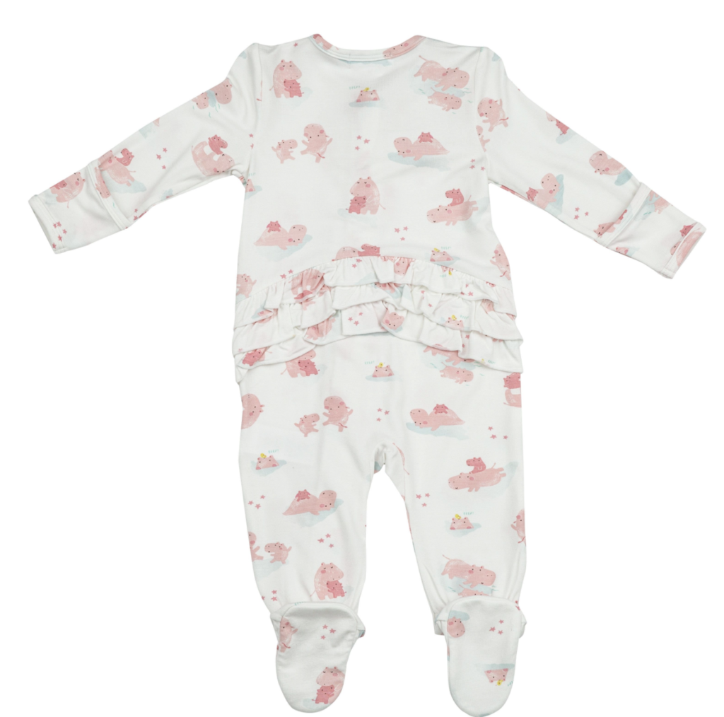 Angel Dear - Hippo Zipper Footie - Pink