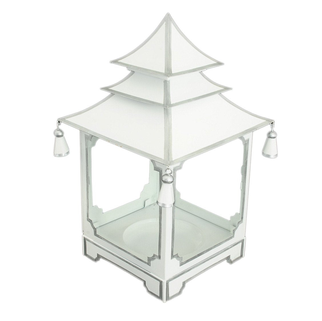 Jim Piers - Candle Pagoda White With Silver Trim