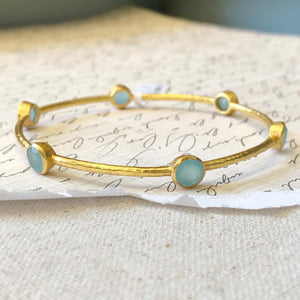 Julie Vos - Milano Bangle - Aqua Chalcedony