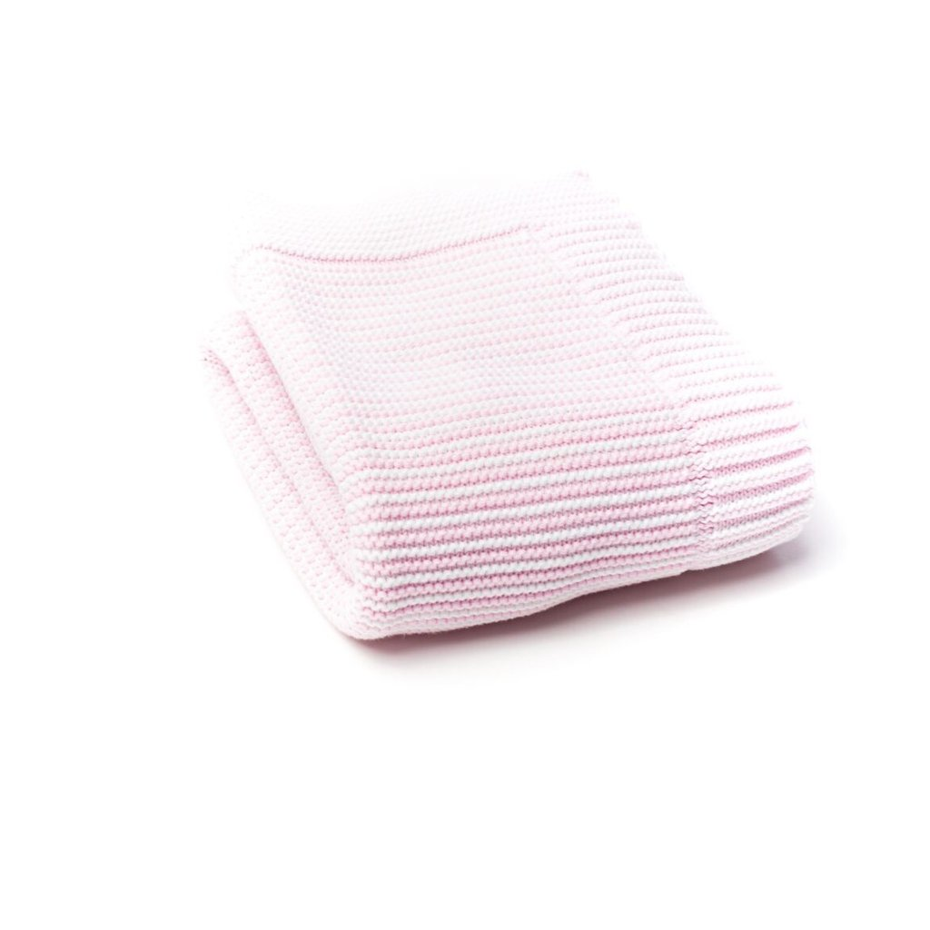 A Soft Idea - Striped Blanket - Pink & White