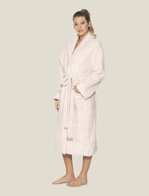Barefoot Dreams - CozyChic® Heathered Adult Robe - He Dusty Rose / White - Size 1