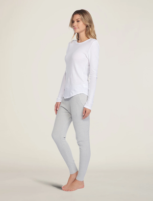 Barefoot Dreams - Malibu Collection® Women's Long Sleeve Loose Jersey Crew - White
