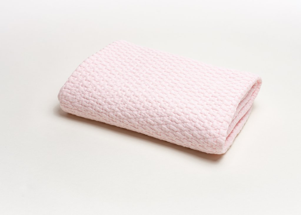 A Soft Idea - Baby Stonewashed Basket Weave with Binding - Pink