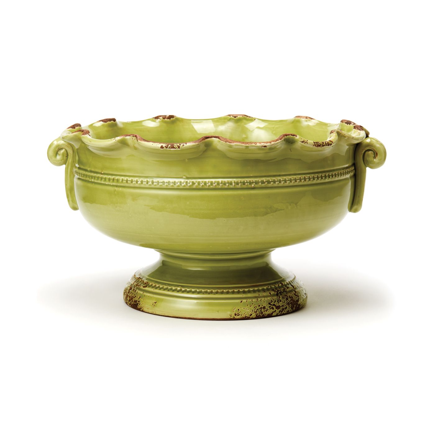 Vietri - Rustic Garden Pistachio Small Scalloped Footed Cachepot