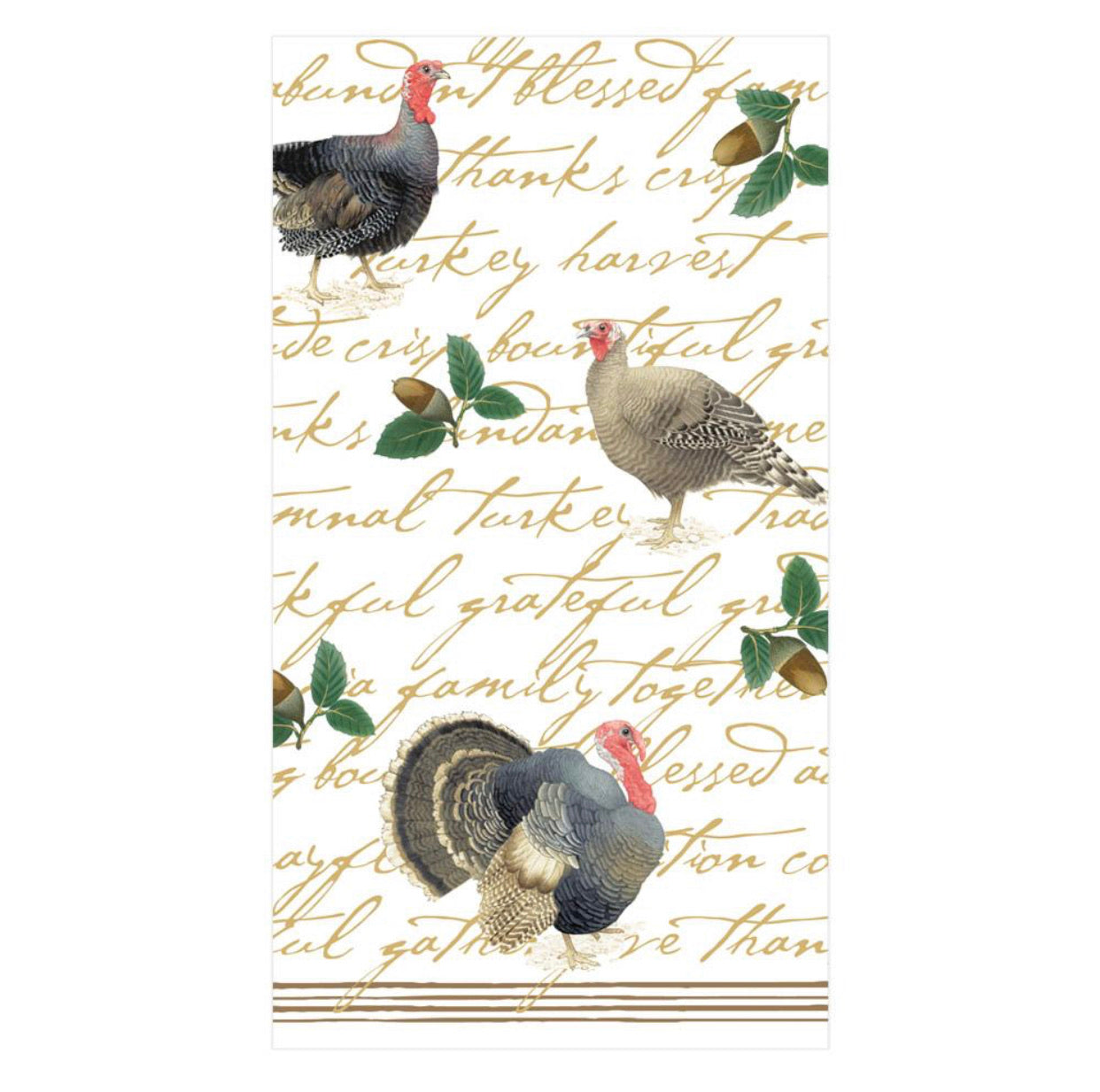Caspari - Founders' Thanksgiving Paper Guest Towel Napkins - 15 Per Package