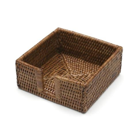 Caspari - Rattan Cocktail Napkin Holder in Dark Natural - 1 Each