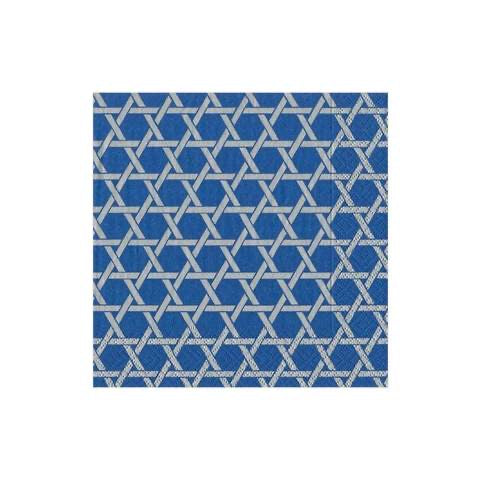 Caspari - Star Lattice Paper Cocktail Napkins in Blue & Silver - 20 Per Package