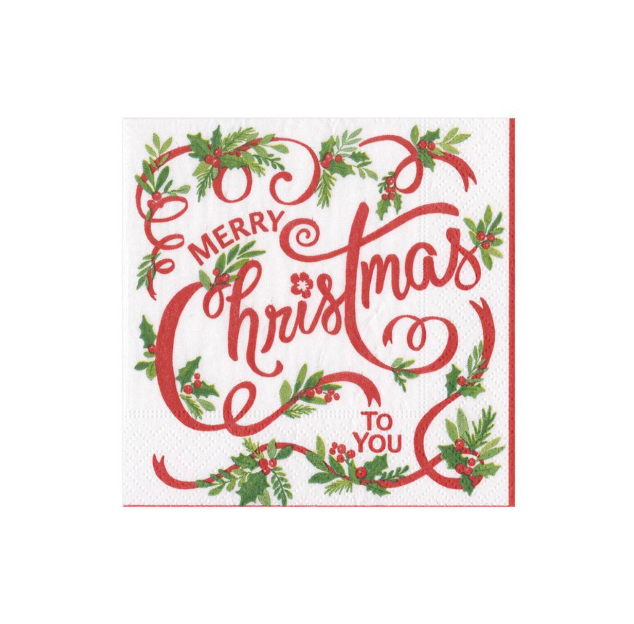 Caspari - Merry Christmas to You Paper Cocktail Napkins - 20 Per Package
