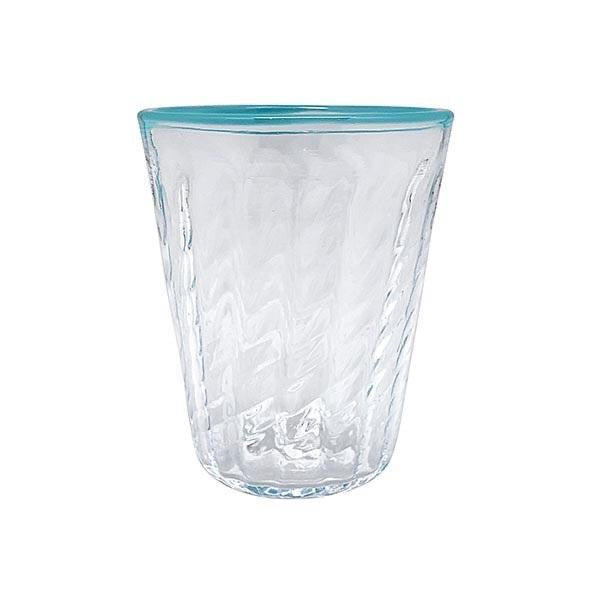 Mariposa - Urchin Textured Highball Glass, Aqua Rim