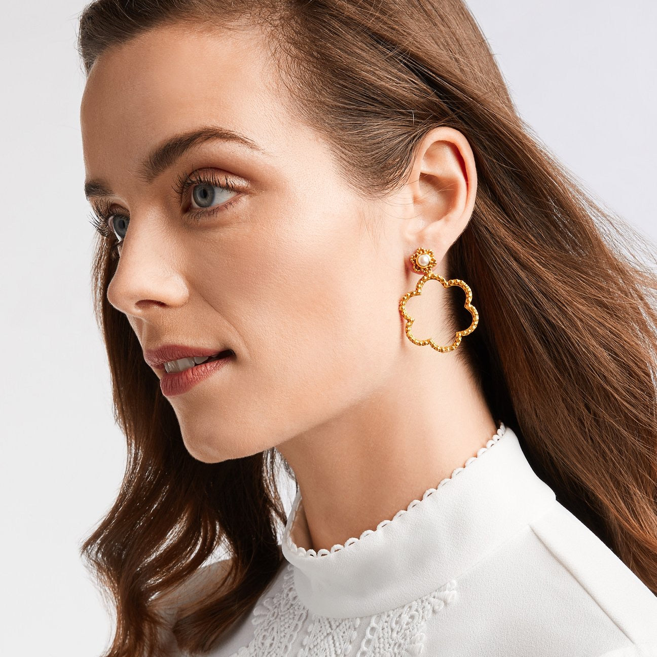 Julie Vos - Colette Statement Earring Gold Pearl