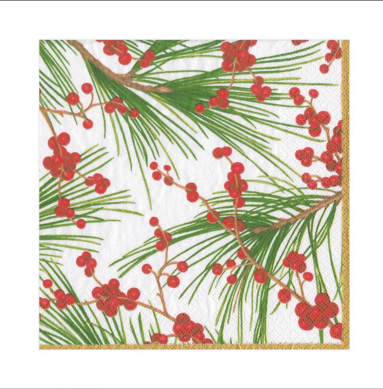 Caspari - Berries and Pine Paper Luncheon Napkins - 20 Per Package