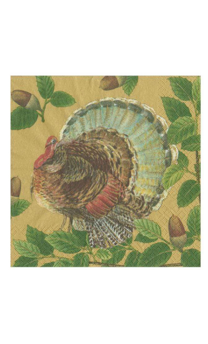 Caspari - Turkey and Acorns Paper Cocktail Napkins in Gold - 20 Per Package