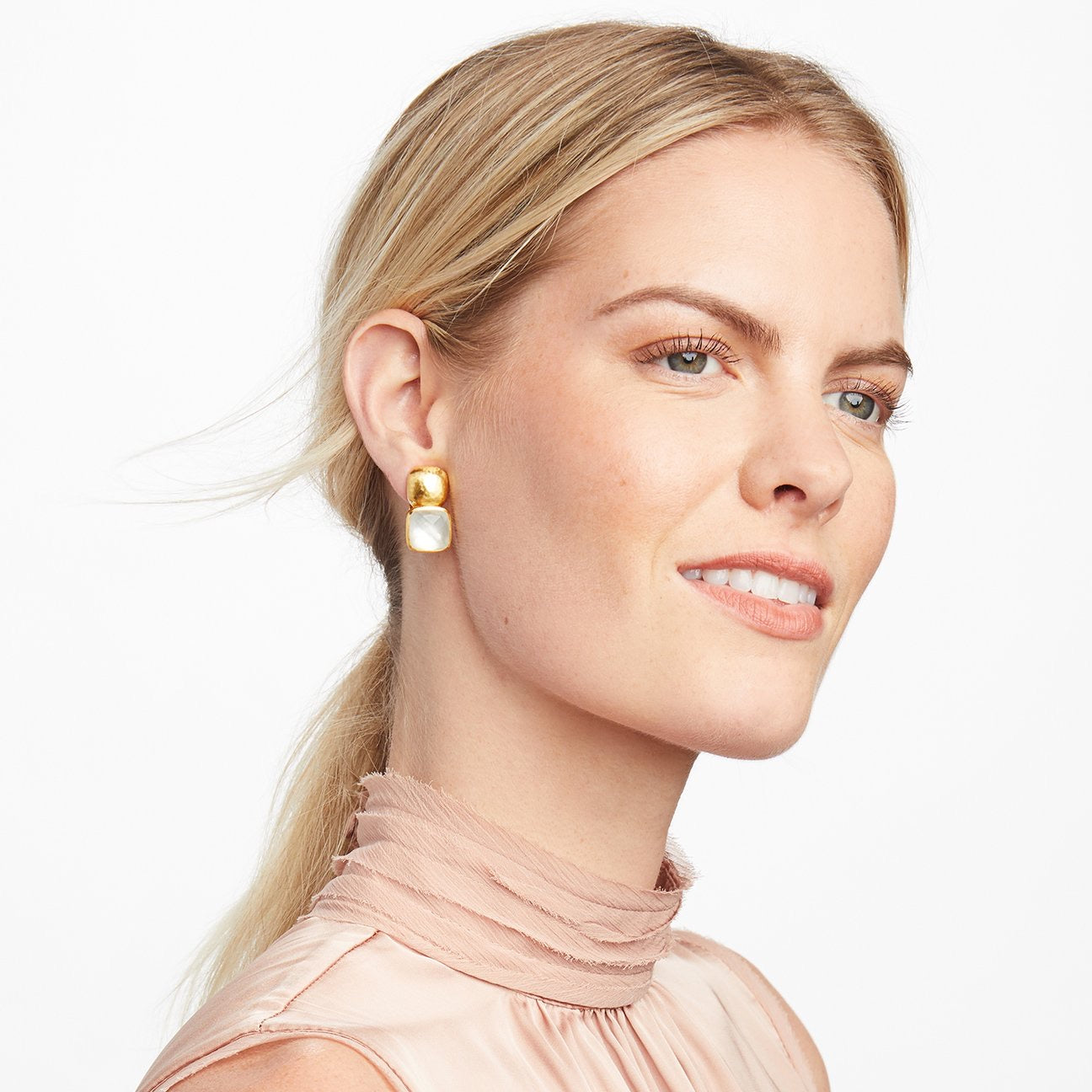 Julie Vos - Catalina Earring Gold Iridescent Chalcedony Blue