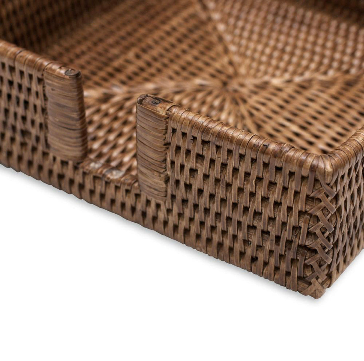 Caspari - Rattan Luncheon Napkin Holder in Dark Natural - 1 Each
