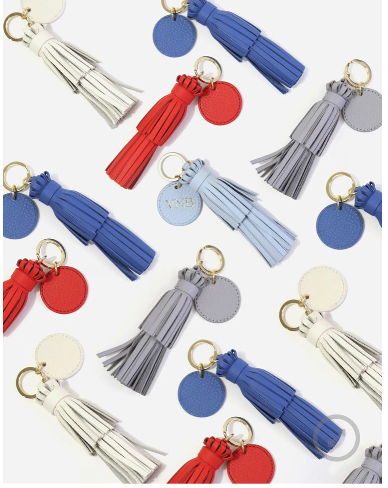 Neely & Chloe - Tassel With Key Ring Tag Pebble - Forest Green