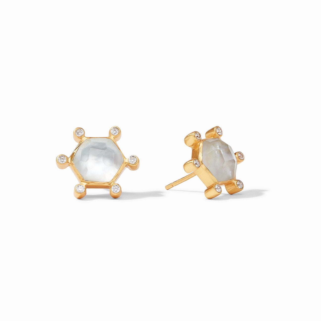 Julie Vos - Cosmo Stud Gold Iridescent Clear Crystal
