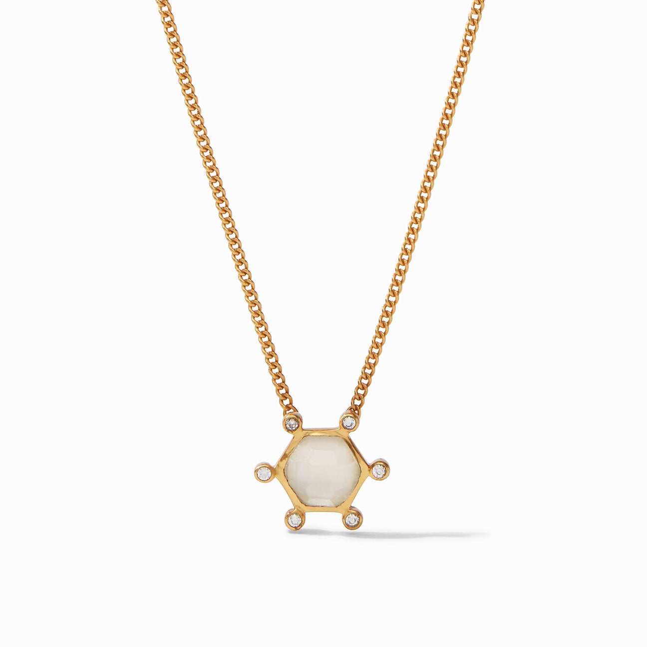 Julie Vos - Cosmo Solitaire Necklace Gold Iridescent Clear Crystal