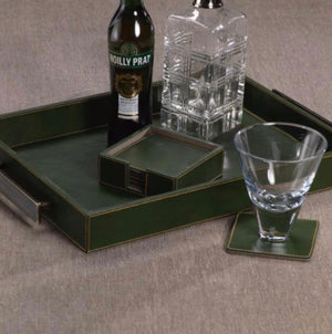 Zodax - Leather Coasters - Green - Set of 6