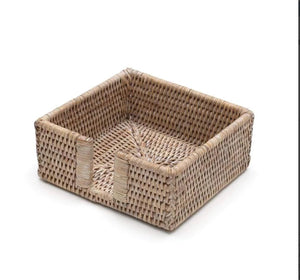 Caspari - Rattan Cocktail Napkin Holder in White Natural - 1 Each